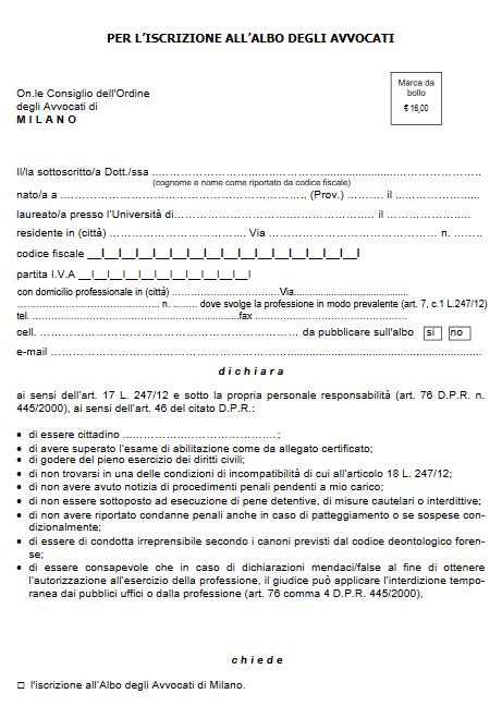 Iscrizione Albo Avvocati Milano domicilio professionale