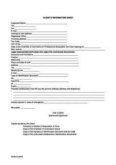 Scheda cliente contratto uffici arredati inglese