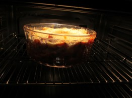 Getting its crust in the oven.