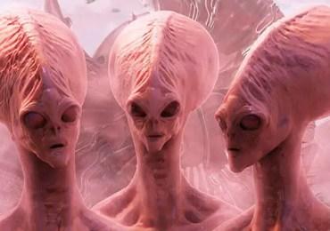 pink aliens near ship