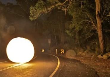 glowing ufo on the street