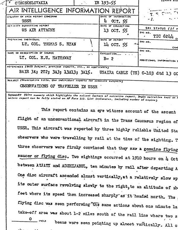 declassified report ufo sighting