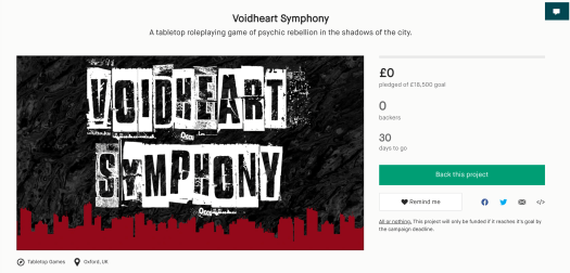 A picture of the draft Voidheart Kickstarter page