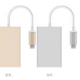 LINXTM Ultra Slim USB-C Male to 4-port USB 3.0 Hub Gold