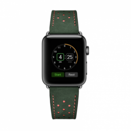 Vogue Leather Band – Green with Orange Dot 44mm/42mm
