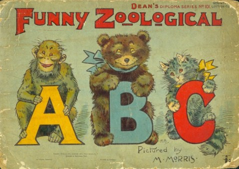 ABC book cover featuring an ape, bear, and cat holding the letters A, B, and C
