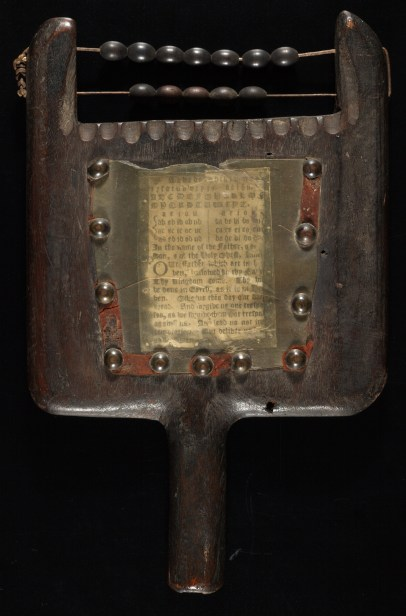 An eighteenth-century hornbook, possibly American, with alphabet in lower and uppercases, followed by vowels, ligatures, and the Lord's prayer.