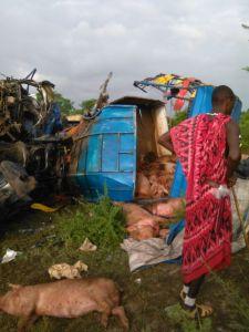 IMG 20151217 WA0009 - Fuso lilikuwa limebeba nguruwe limegongana na lori maeneo ya vigwaza