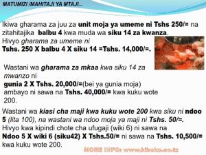 chicken management swahili 021 - Ufugaji wa kuku: namna ya kuanza na mchanganuo wa mapato na matumizi
