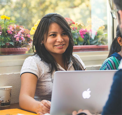UFV student works on her Apple laptop
