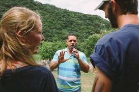 A local disc jockey serenades sustainability intern Mason and his girlfriend Erin at el Día de San Luis on Sunday, June 19, 2016. (Photo/Rachel E. Eubanks, www.rachel-eubanks.com)