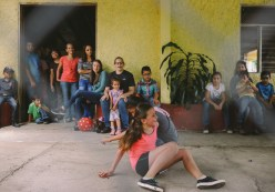 Local children compete in a game of musical chairs at el Día de San Luis.