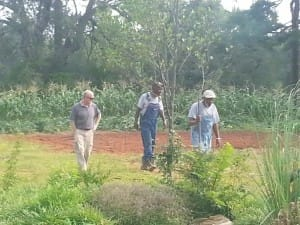 UGA Extension Agent, Wade Hutcheson, visits with gardeners Jimmy Jones and Ernest Lewis.  Mr. Jones went to the Fairmont school in the late 1960s.
