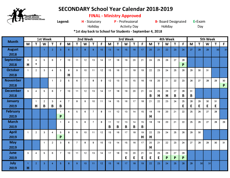 click here to open the secondary school calendar as a pdf
