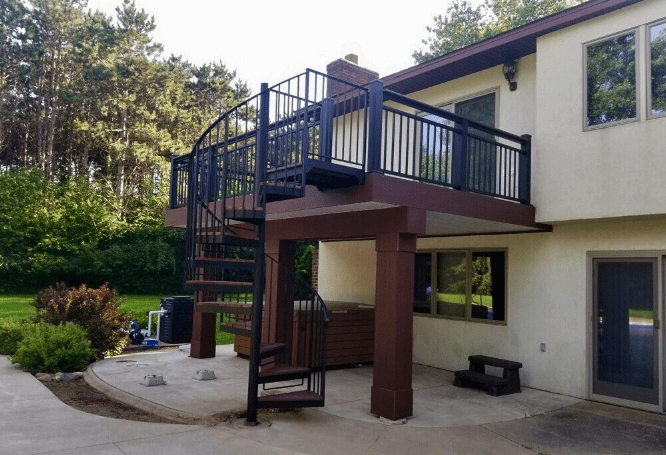 How Much Does An Outdoor Spiral Staircase Cost – Minnesota Deck | Metal Spiral Staircase Cost | Iron | Deck | Stainless Steel | Stair Parts | Staircase Kits