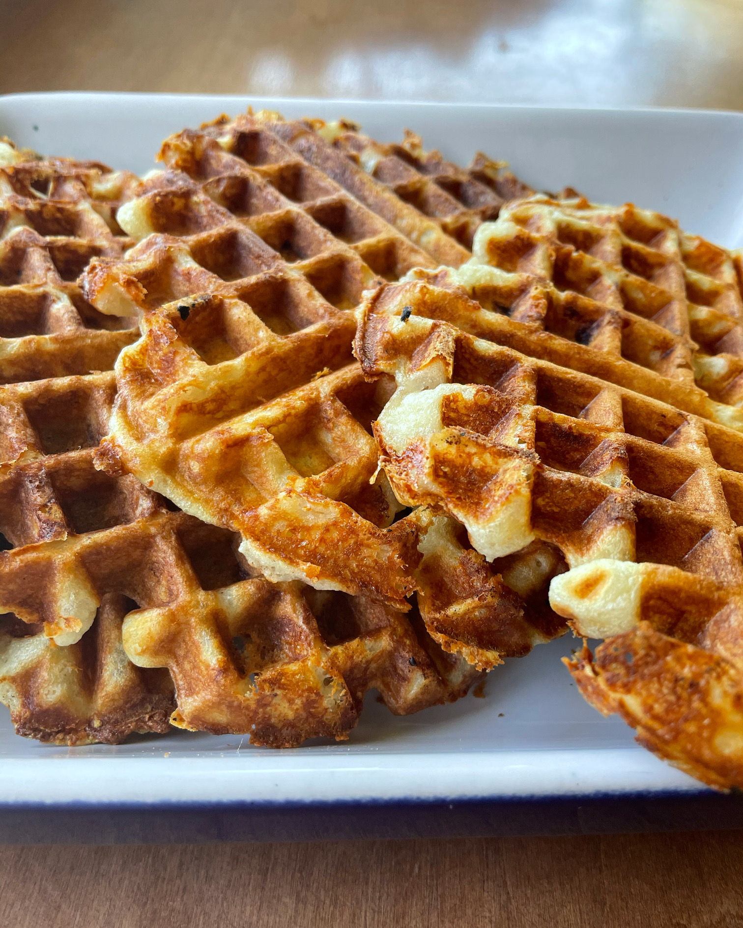 Loaded ham and cheese waffles