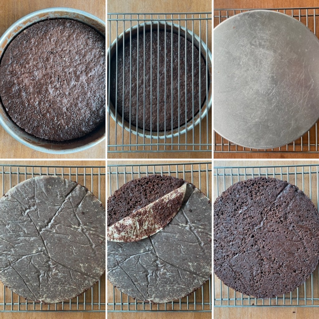 6 panels showing how to remove chocolate cake layers from the cake pan