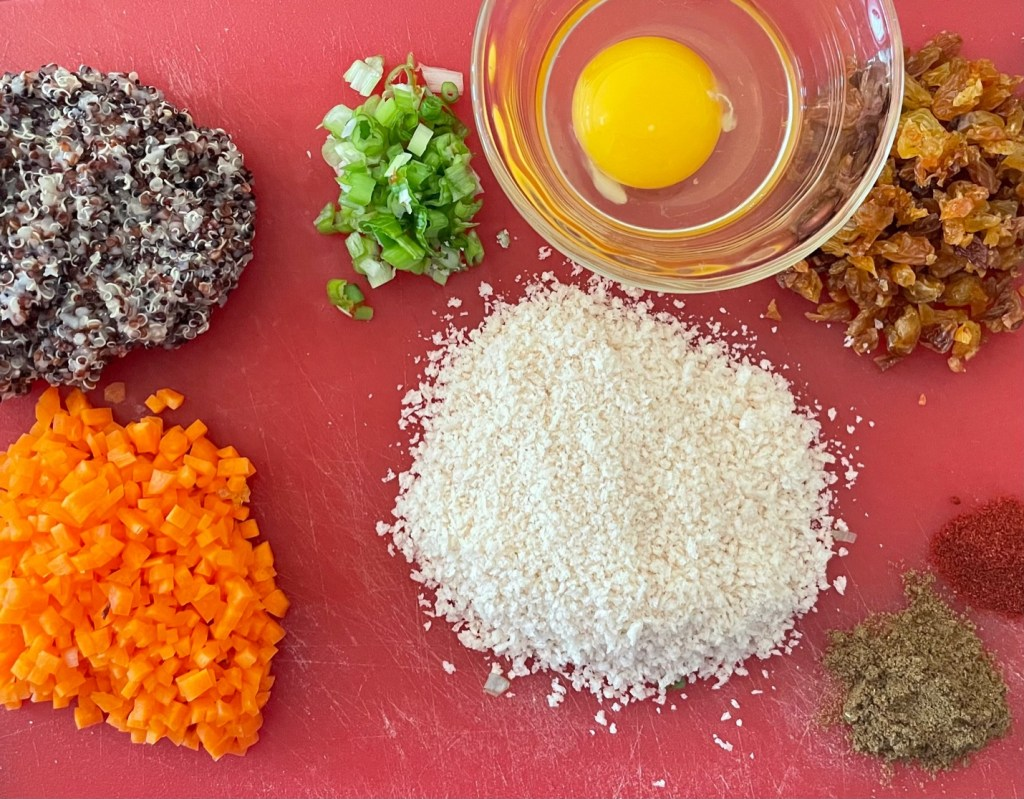 ingredients for the cauliflower patties laid out on a cutting board