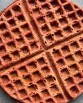 a picture of a reddish waffle
