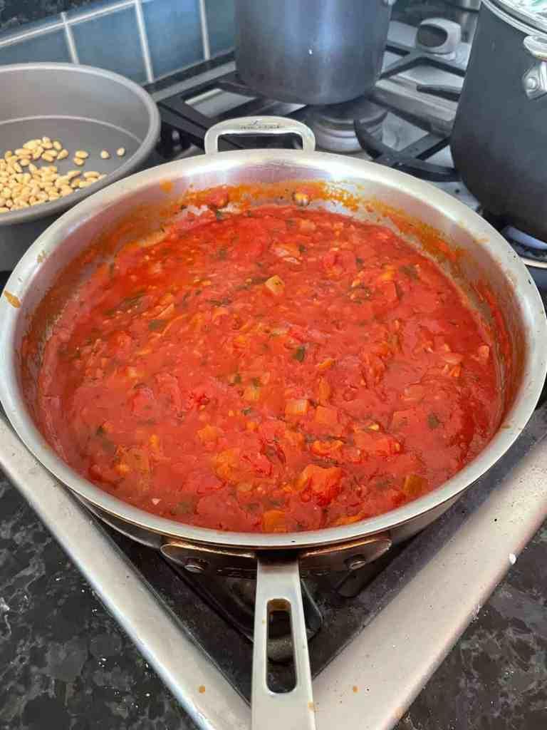 a pan of hearty marinara sauce
