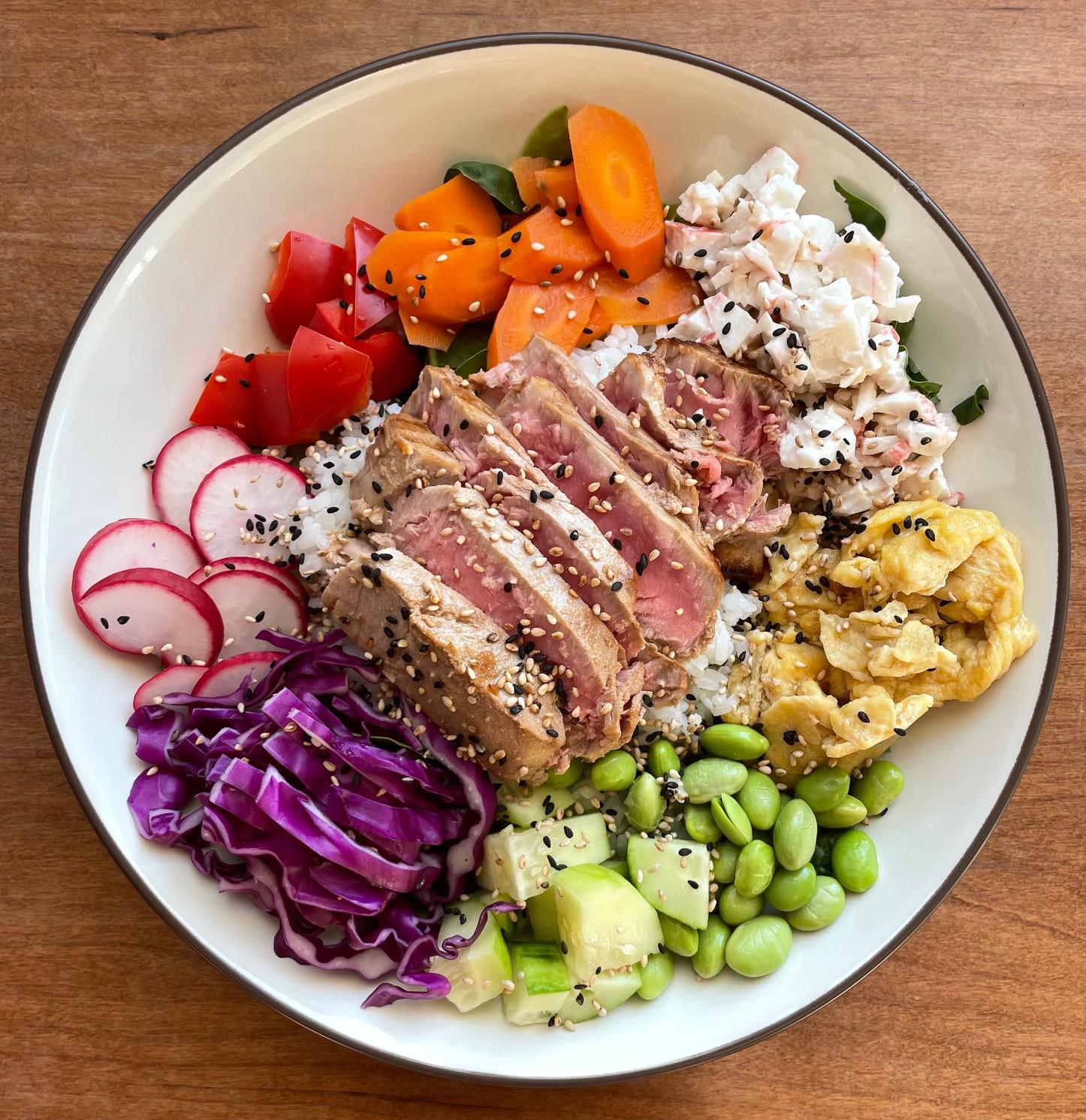 Rainbow Poke Bowl with Seared Tuna, Sushi Crab Salad, and Japanese Scrambled Eggs