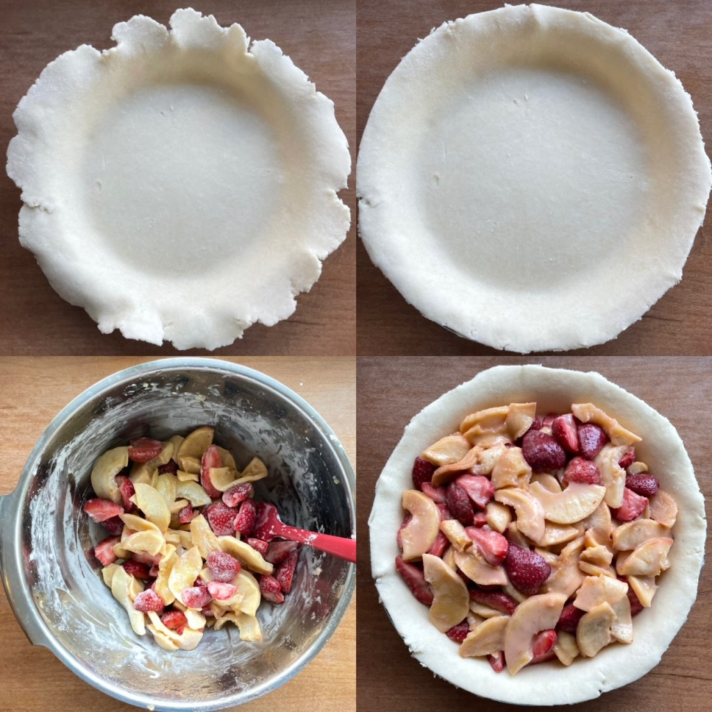 Four panels showing the rolled out bottom crust, the trimmed bottom crust, a bowl with apples and strawberries, and then the filled bottom crust