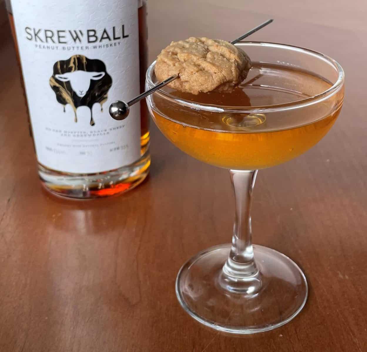 Peanut Butter Manhattan (A Skrewball Peanut Butter Whiskey Recipe)