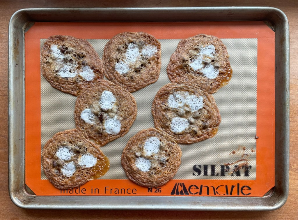 s'mores cookies on a baking sheet