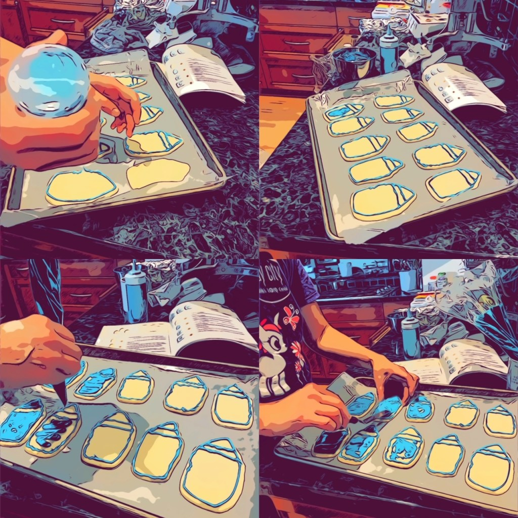 four panels in comic overlay showing the outlining of the crayon cookies with piping icing