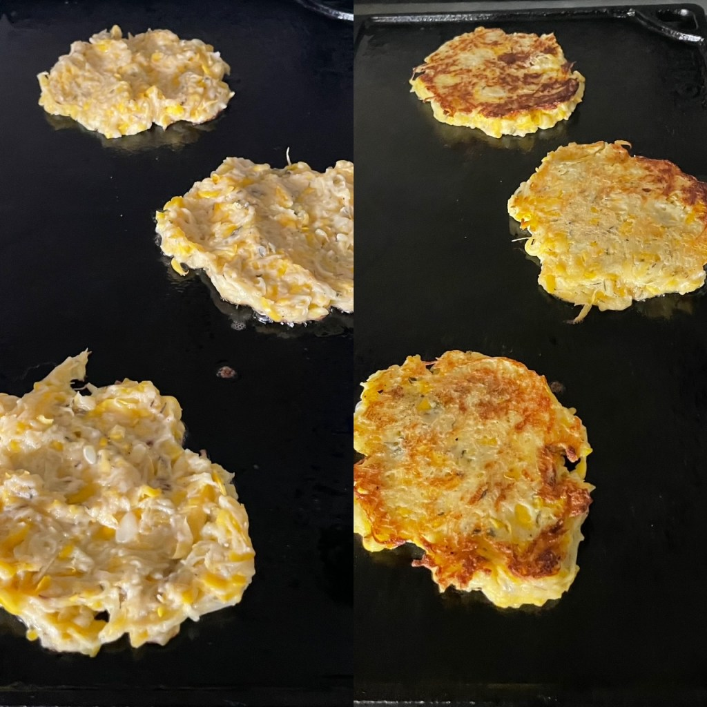 two panels showing three patty pan squash patties being fried on a griddle
