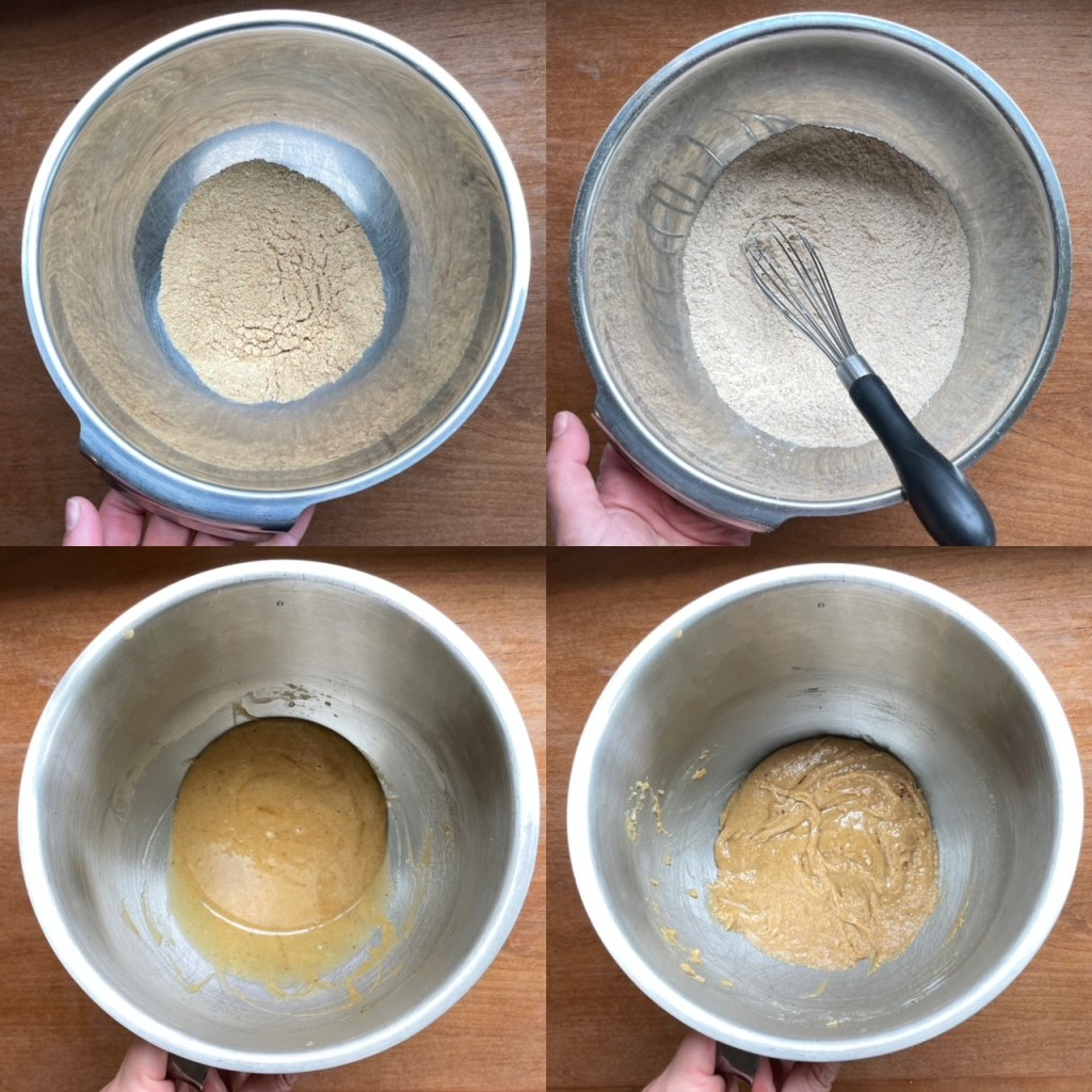 Four panels showing the pulverized graham crackers, the dry ingredients, the sugar and butter and egg mixture, and then the final batter