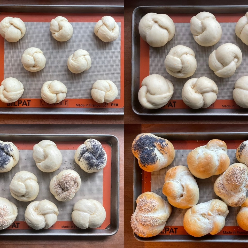 four panels showing the third rise, egg wash and adding seeds, and baked large challah rolls