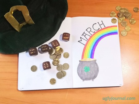 March bullet journal theme pot of gold