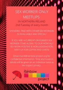 Poster da reunião do Rainbow Project Sex Worker