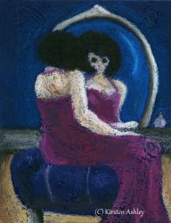"Hollow Eyed, acrylic, oil pastel on 5x7"" canvas."