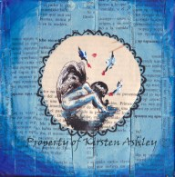 """My Blue Angel, pen, acrylic, prayer book pages on 6x6"""" canvas."""