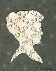 Floral Silhouette, silhouette portrait on contrasting toned paper.