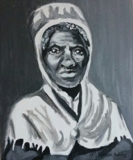 """Sojourner Truth, acrylic portrait on 8x10"""" canvas."""