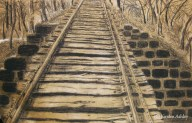 Tracks, conte on toned paper.