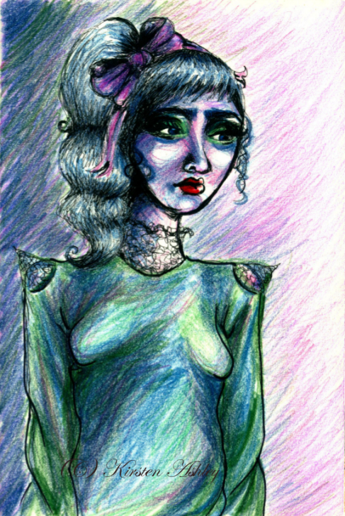 """""""Modern Art Girl"""" Ink, colored pencil, 2016"""
