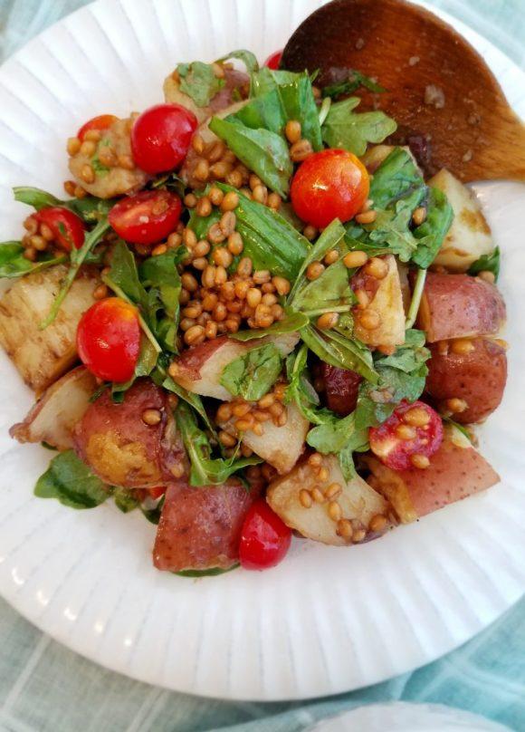 Basil potato salad recipe with balsamic vinegar