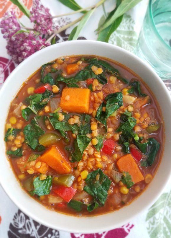 Red Lentil Sweet Potato Kale Soup Recipe