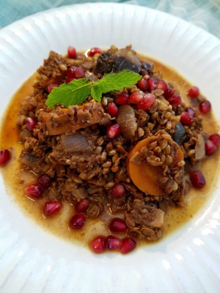 Vegan Eggplant Lentil Stew with Pomegranate Molasses Recipe