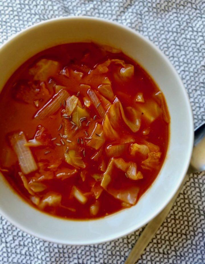Vegan gluten free cabbage soup