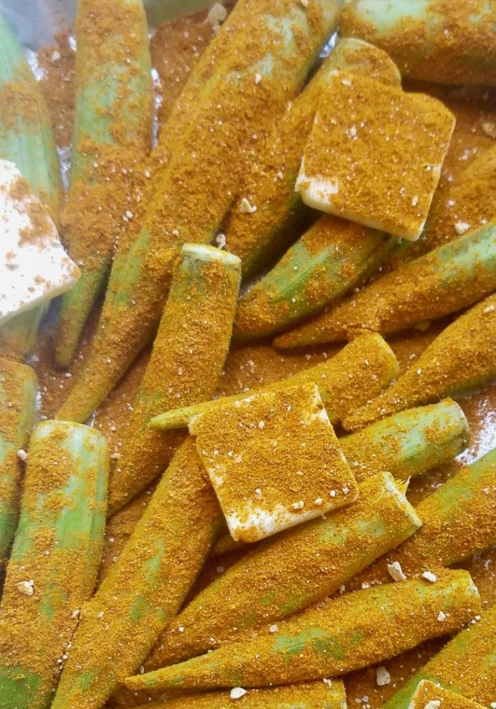 Spicy grilled okra recipe