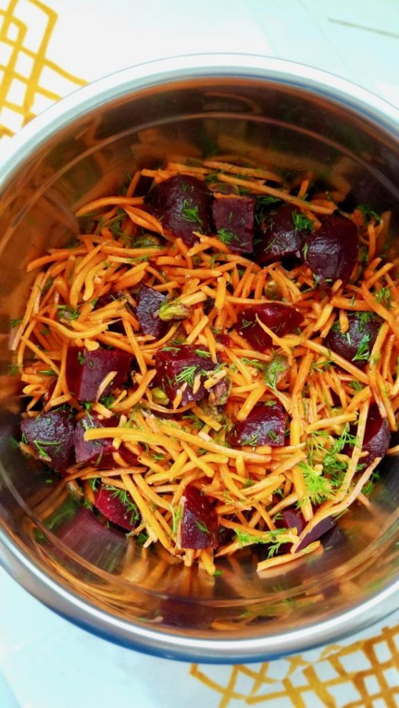 Carrots and Beet Salad with Fresh Dill and Roasted Pistachios