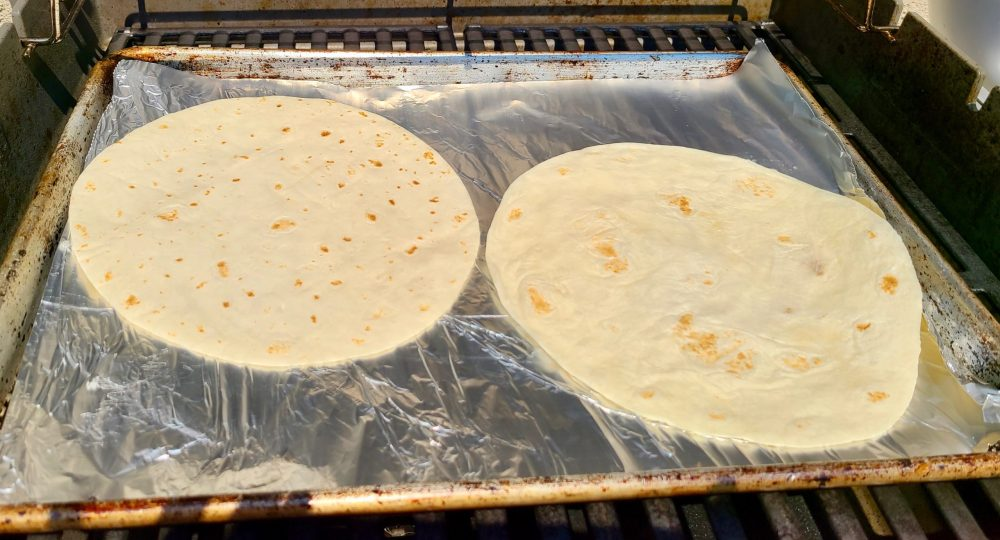 Tortillas on the grill