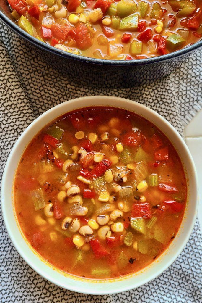 Vegan Cajun Black-Eyed Pea Soup in a bowl.