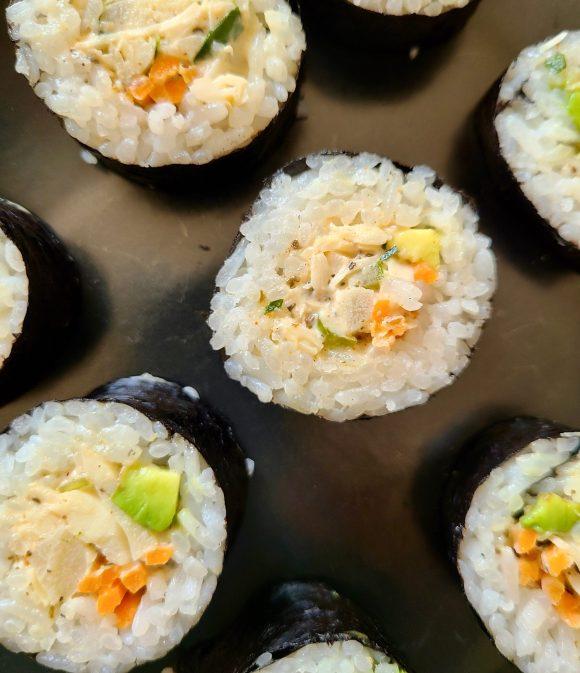 Vegan crab salad sushi