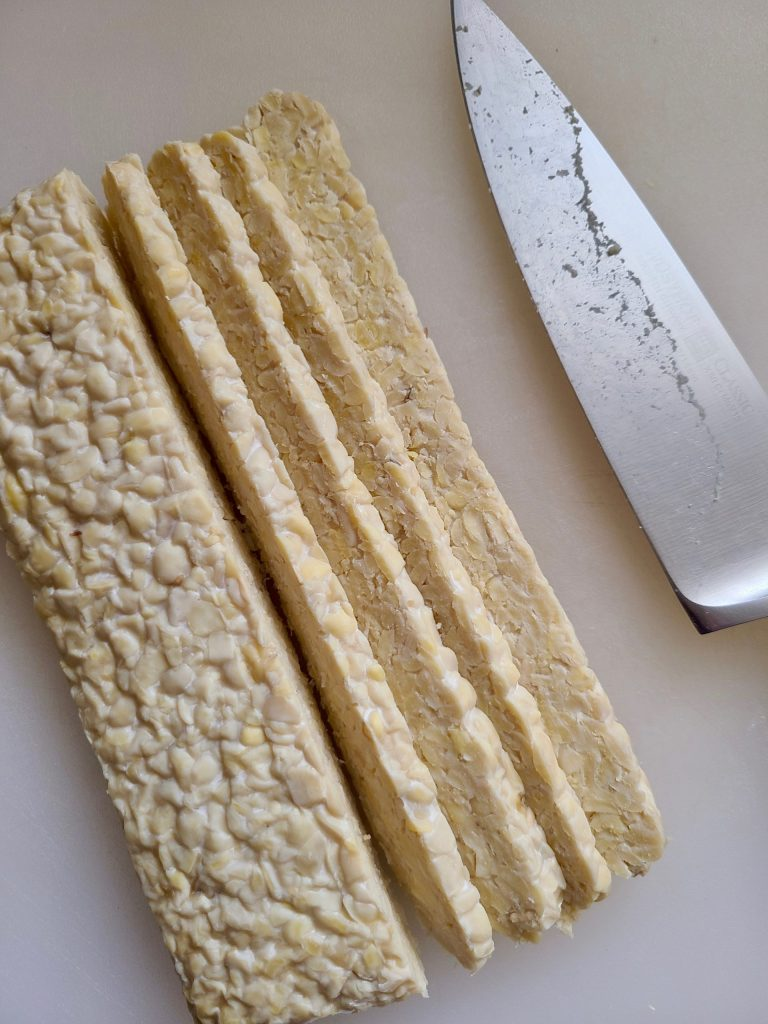 Slicing tempeh